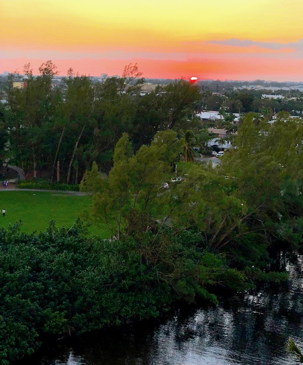 Sunset from our friends' balcony at The Pointe in Pompano Beach, Florida