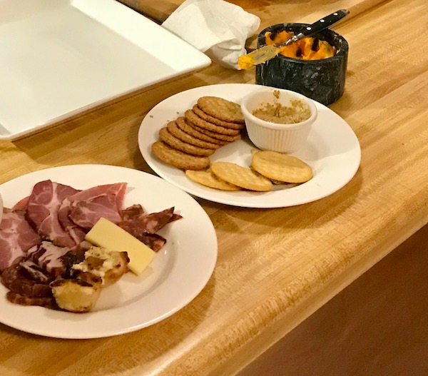 Plates of appetizers on a counter