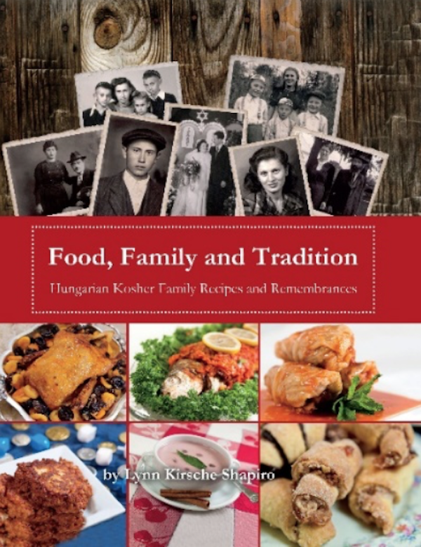 A book cover with picture of food and old photos of people