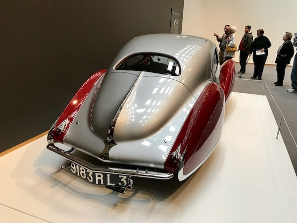 A silver and red 1938 Talbot-Lago Teardrop