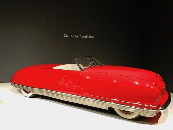 Bright red 1941 Chrysler Thunderbolt convertible