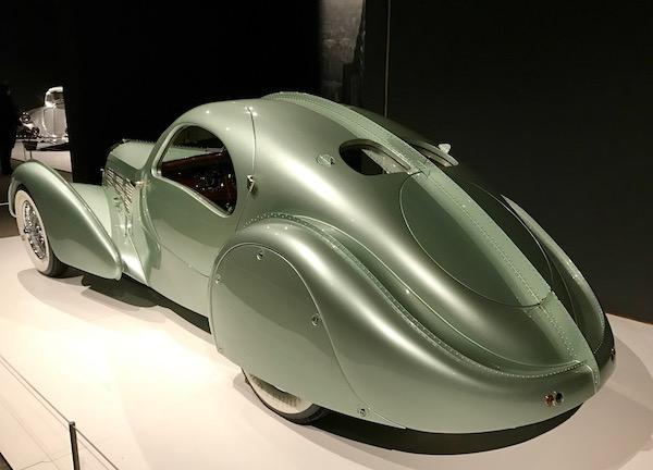 A metallic light green 1935 Bugatti Type 57S Aerolithe