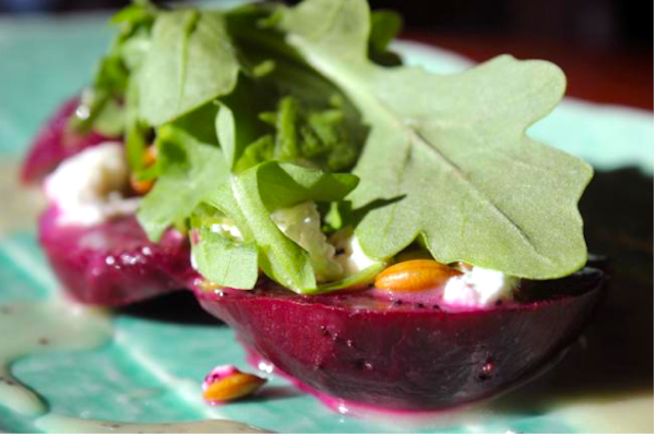 Roasted Beet Salad on a green plate