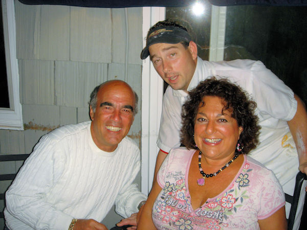 Three people at restaurant in Montauk, NY. Steve and I with our chef