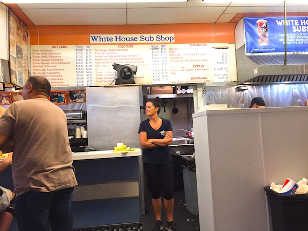 Menu on the wall at White House Sub Shop
