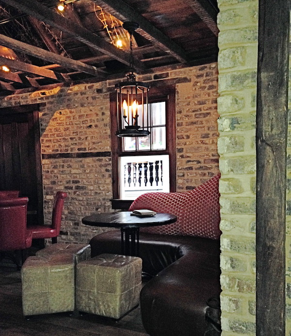 An old brick walled lounge area
