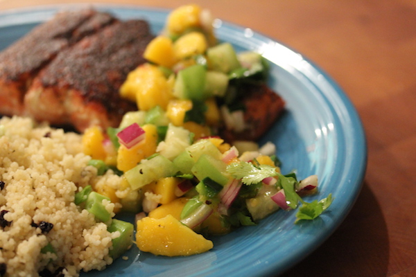 Wild Copper River Salmon With Mango Tomatillo Salsa