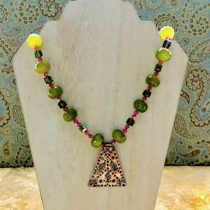 18-inch Peridot and Swarovski Crystal Necklace with 2-inch long Sterling Silver pendant