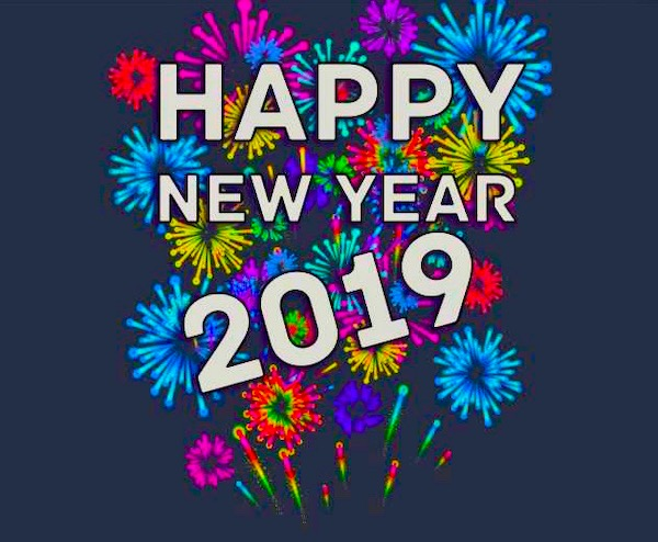 Happy New Year 2019 on a black background with colorful fireworks behind the white lettering.