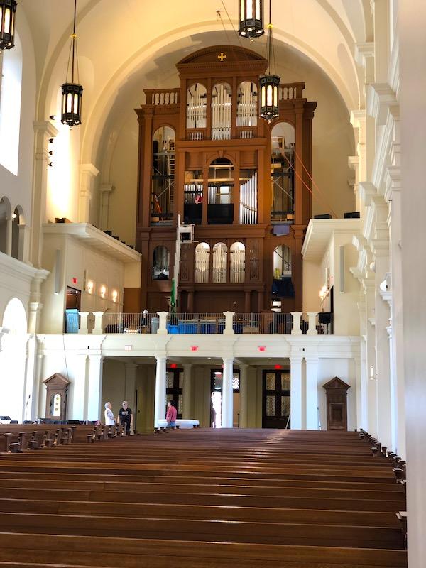 A massive church pipe organ.