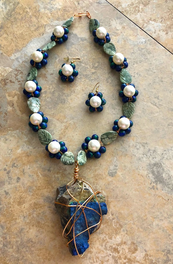 Azurite and Moss Agate necklace and earrings with glass pearls and raw lapis lazuli.