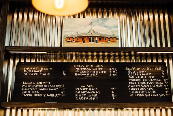 Chalkboard bar menu.