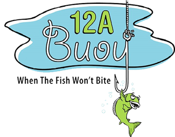 12A Buoy Great Casual Dining in Ft. Pierce Florida logo with the name and a lime green fish avoiding the fishing hook. Wording is When the fish won't bite.