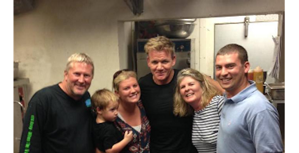 12A Buoy Great Casual Dining in Ft. Pierce Florida owners and staff with chef Gordon Ramsey.
