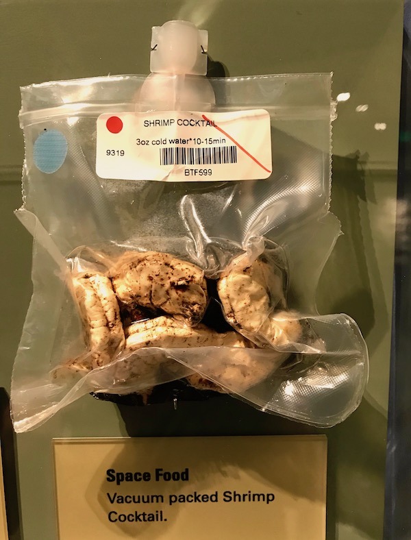 Navy Seal Museum on N. Hutchinson Island Florida a cyrovqc package of freeze dried shrimp.