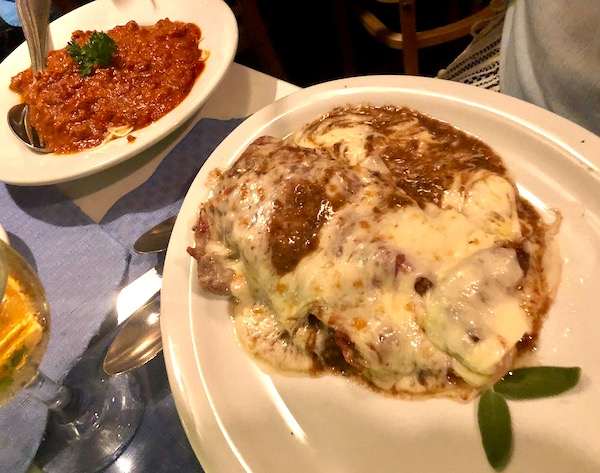 Chef Vola's in Atlantic City NJ Never Disappoints with its veal parmesan and a side of spaghetti with red sauce.