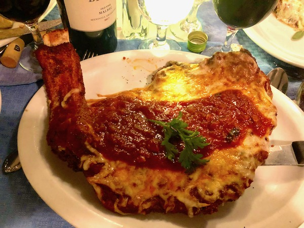 Chef Vola's in Atlantic City NJ Never Disappoints with its pounded thin bone-in veal chop parmesan.