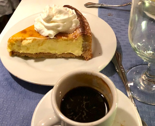 Chef Vola's in Atlantic City NJ Never Disappoints with a slice of ricotta cheesecake and a cup of espresso.