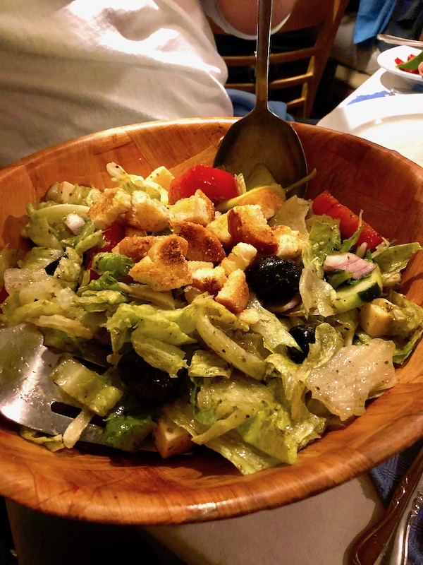 Chef Vola's in Atlantic City NJ Never Disappoints with their antipasto salad in a large wood salad bowl.