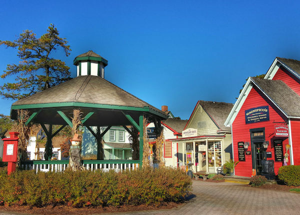 A gazebo and colorful, quaint shops at Historic Smithville NJ.