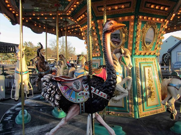 A closer look at the wooden animals on the carousel at Historic Smithville NJ.