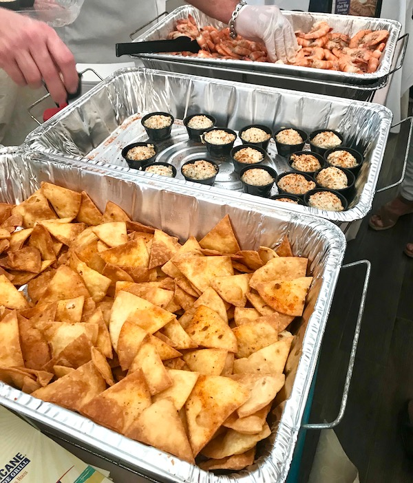 Hotel pans filled with pita chips and smoked fish dip at the 2019 Flavors Wellington Food and Wine Festival