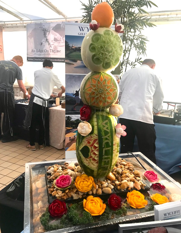 A tower of carved fruits at the 2019 Flavors Wellington Food and Wine Festival
