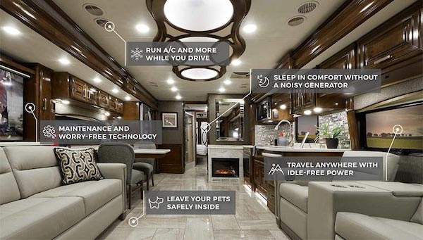 The beautiful interior of a Class A Hybrid Electric RV!