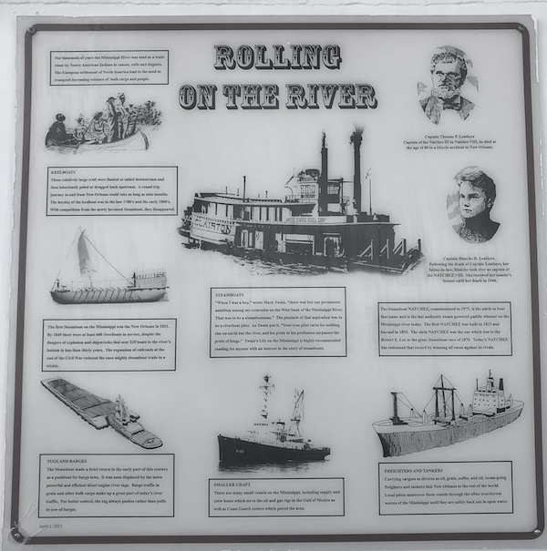 A sign showing different vessels that Cruise the Mississippi on the Steamboat Nachez