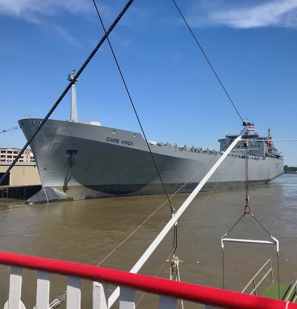 A large grey ship photo taken as we Cruise the Mississippi on the Steamboat Nachez.