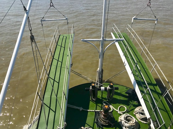Two moveable gang planks on the bow of our boat as we Cruise the Mississippi on the Steamboat Nachez