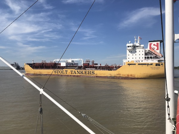 A tanker passes us as we Cruise the Mississippi on the Steamboat Nachez
