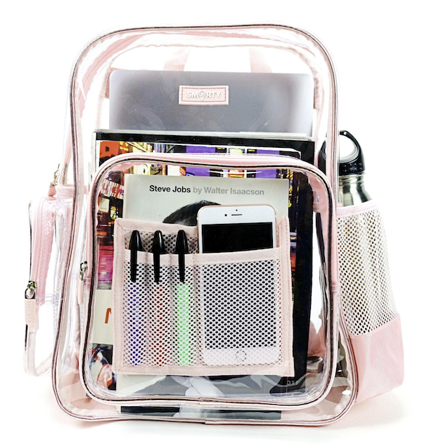 A clear backpack filled with useful items as part of my Gift Roundup for Mothers Day