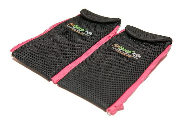 TravelEyez cases in black mesh with pink trim are part of a Gift Roundup for Mothers Day
