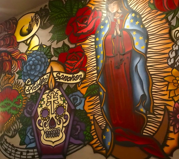 Colorful day of the dead type mural at Johnny Sanchez Mexican Restaurant