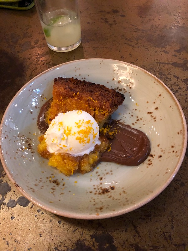 Johnny Sanchez Mexican Restaurant's Louisiana Citrus Chess Pie with Cream Cheese Ice Cream and Nutella