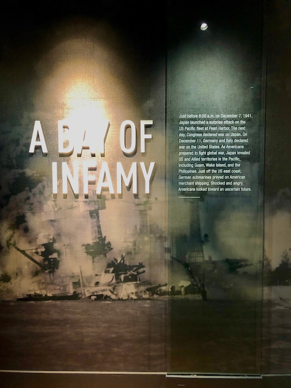 A wall explaining the bombing of Pearl Harbor by the Japanese at the National World War II Museum